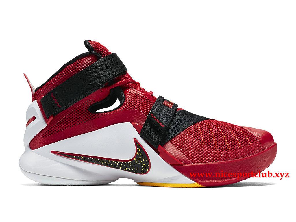 9c2123d64911 Chaussures De BasketBall Homme Nike Lebron Soldier IX 9 EP Prix Pas Cher  Rouge Noir ...
