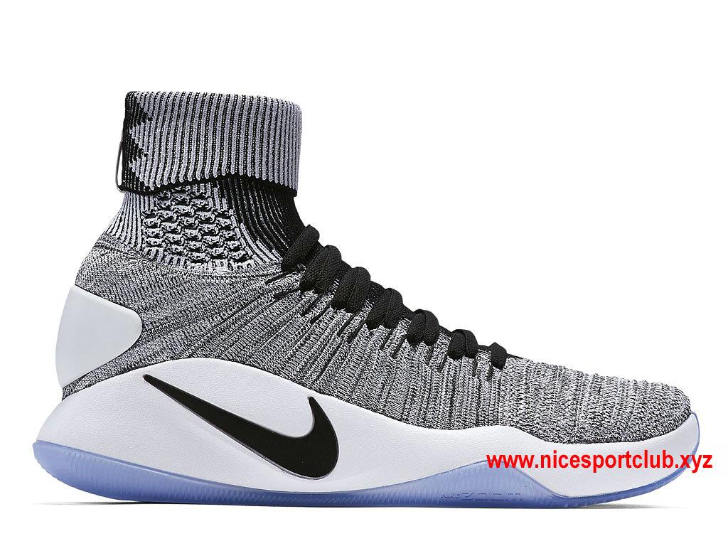 Chaussures De BasketBall Nike Hyperdunk 2016 Flyknit Oreo Prix Homme Pas Cher BlackWhite