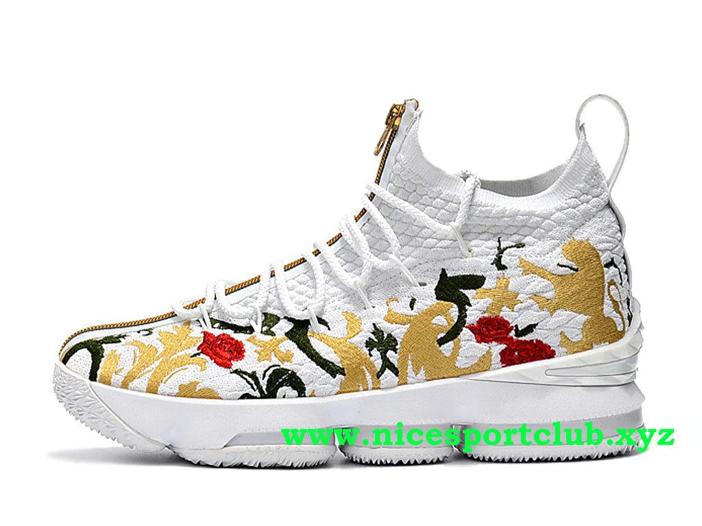 Chaussures De BasketBall Nike LeBron 15 Homme Pas Cher Prix Blanc Or Noir